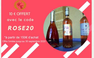 Offre spéciale vins rosés ! Code rose20